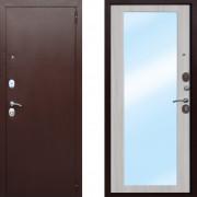 Металлическая входная дверь с зеркалом Атлант Царское Зеркало Макси Белый Ясень