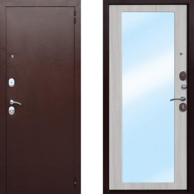 Металлическая входная дверь Атлант Царское Зеркало Макси Белый Ясень