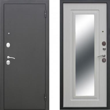 Металлическая входная дверь Атлант с зеркалом Беленый Дуб