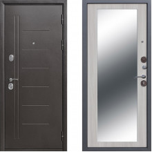 Входная металлическая дверь с зеркалом Атлант Зеркало Белый Ясень