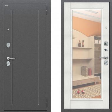 Металлическая входная дверь Bravo оптим флеш с зеркалом Бьянка Вералинго