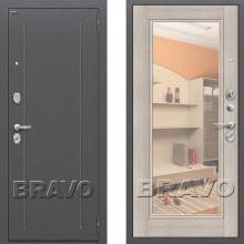 Металлическая входная дверь Bravo оптим флеш с зеркалом Капучино ( входная дверь с зеркалом )