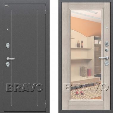 Металлическая входная дверь Bravo оптим флеш с зеркалом Капучино