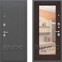 Металлическая входная дверь Bravo оптим флеш с зеркалом Венге ( входная дверь с зеркалом )