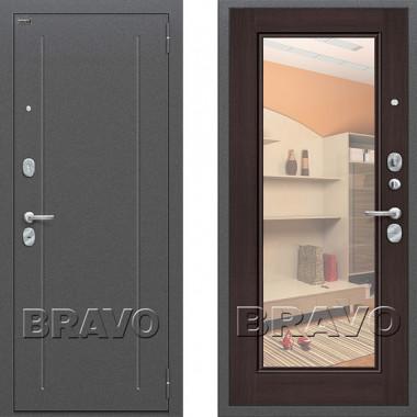 Металлическая входная дверь Bravo оптим флеш с зеркалом Венге