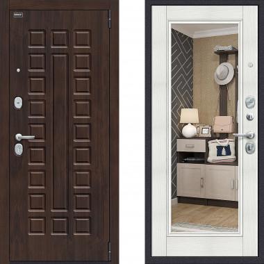 Металлическая дверь Bravo оптим урбан с зеркалом Бьянка Вералинга