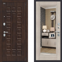 Металлическая входная дверь Bravo оптим урбан Капучино с зеркалом