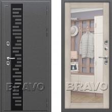 Входная металлическая дверь с терморазрывом Браво Термо 220 Капучино с зеркалом