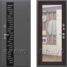 Входная металлическая дверь с терморазрывом Браво Термо 220 Венге с зеркалом