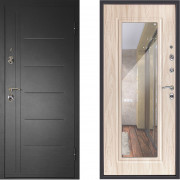 Металлическая дверь Континент Сити с зеркалом беленый дуб