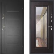 Металлическая дверь Континент Сити с зеркалом венге