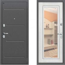 Металлическая дверь Proff с зеркалом Беленый Дуб