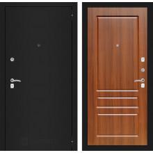 Входная металлическая дверь Лабиринт CLASSIC шагрень черная 3 Орех бренди