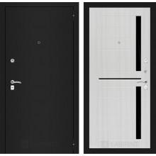Входная металлическая дверь Лабиринт Classic шагрень черная 2 Сандал белый