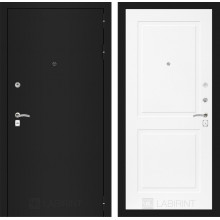 Входная металлическая дверь Лабиринт CLASSIC шагрень черная 11 Белый софт
