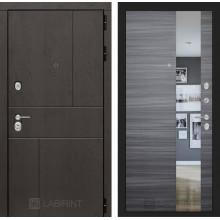 Входная металлическая дверь Лабиринт URBAN с Зеркалом Сандал серый горизонтальный