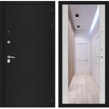 Входная металлическая дверь Лабиринт CLASSIC шагрень черная с Зеркалом Максимум Сандал белый