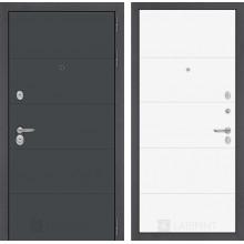 Входная металлическая дверь Лабиринт ART графит 13 Белый софт
