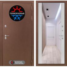 Входная металлическая дверь с терморазрывом Лабиринт Термо Магнит с Зеркалом Максимум Сандал белый