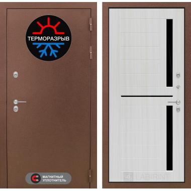 Входная металлическая дверь с терморазрывом Лабиринт Термо Магнит 02 Сандал белый