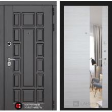 Входная металлическая дверь Лабиринт Нью-Йорк с Зеркалом Акация светлая горизонтальная