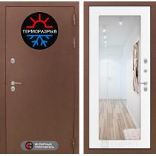 Входная металлическая дверь с терморазрывом Лабиринт Термо Магнит с Зеркалом 18 Белое дерево