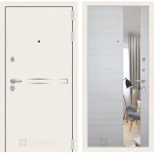 Входная металлическая дверь Лабиринт Лайн WHITE с Зеркалом Акация светлая горизонтальная