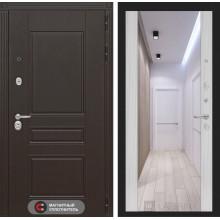 Входная металлическая дверь Лабиринт Мегаполис с зеркалом Максимум Сандал белый