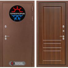Входная уличная дверь с терморазрывом Лабиринт Термо Магнит 3 Орех бренди