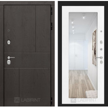 Входная металлическая дверь Лабиринт URBAN с Зеркалом 18 Белое дерево