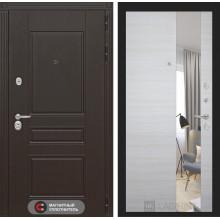 Входная металлическая дверь Лабиринт Мегаполис с Зеркалом Акация светлая горизонтальная