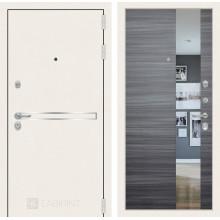 Входная металлическая дверь Лабиринт Лайн WHITE с Зеркалом Сандал серый горизонтальный