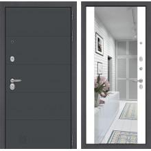 Входная металлическая дверь Лабиринт ART графит с Зеркалом Максимум Белый софт