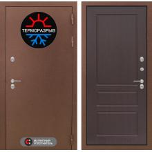 Уличная входная дверь с терморазрывом Лабиринт Термо Магнит 3 Орех премиум