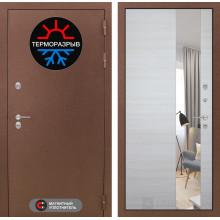 Входная металлическая дверь с терморазрывом Лабиринт Термо Магнит с Зеркалом Акация светлая горизонтальная