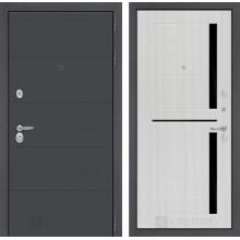 Входная металлическая дверь Лабиринт ART графит 2 Сандал белый