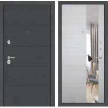 Входная металлическая дверь Лабиринт ART графит с Зеркалом Акация светлая горизонтальная