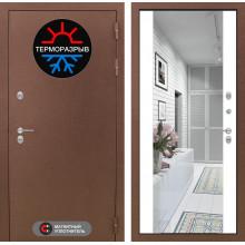 Входная металлическая дверь с терморазрывом Лабиринт Термо Магнит с Зеркалом Максимум Белый софт