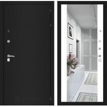 Входная металлическая дверь Лабиринт CLASSIC шагрень черная с Зеркалом Максимум Белый софт