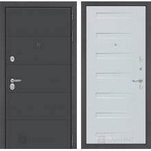 Входная металлическая дверь Лабиринт ART графит 14 - Дуб кантри белый горизонтальный