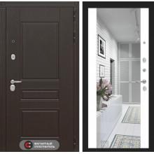 Входная металлическая дверь Лабиринт Мегаполис с зеркалом Максимум Белый софт