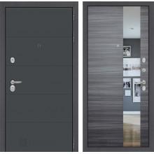 Входная металлическая дверь Лабиринт ART графит с Зеркалом Сандал серый горизонтальный