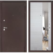 Входная металлическая дверь Лабиринт CLASSIC антик медный с Зеркалом Акация светлая горизонтальная