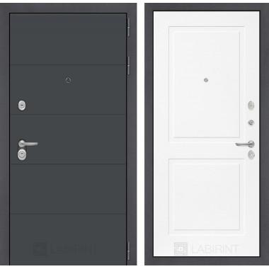 Входная металлическая дверь Лабиринт  ART графит 11 Белый софт