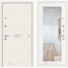 Входная металлическая дверь Лабиринт Лайн WHITE с Зеркалом 18 Белое дерево