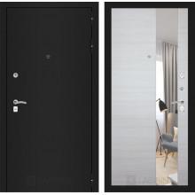 Входная металлическая дверь Лабиринт CLASSIC шагрень черная с Зеркалом Акация светлая горизонтальная