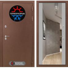 Входная металлическая дверь с терморазрывом Лабиринт Термо Магнит с Зеркалом Максимум Грей софт