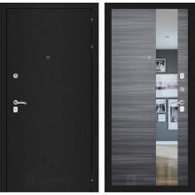 Входная металлическая дверь Лабиринт CLASSIC шагрень черная с Зеркалом Сандал серый горизонтальный