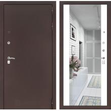Входная металлическая дверь Лабиринт CLASSIC антик медный с Зеркалом Максимум Белый софт