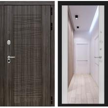 Входная металлическая дверь Лабиринт SCANDI Дарк грей с Зеркалом Максимум Сандал белый